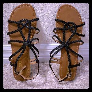 🔴5/$15 Report Black Tan Sandals 10